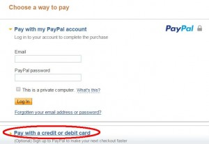 PayPal Payment - Pay with a credit or debit card