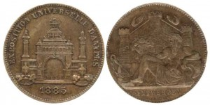 A bronze medal awarded at the 1885 Antwerp Exhibition